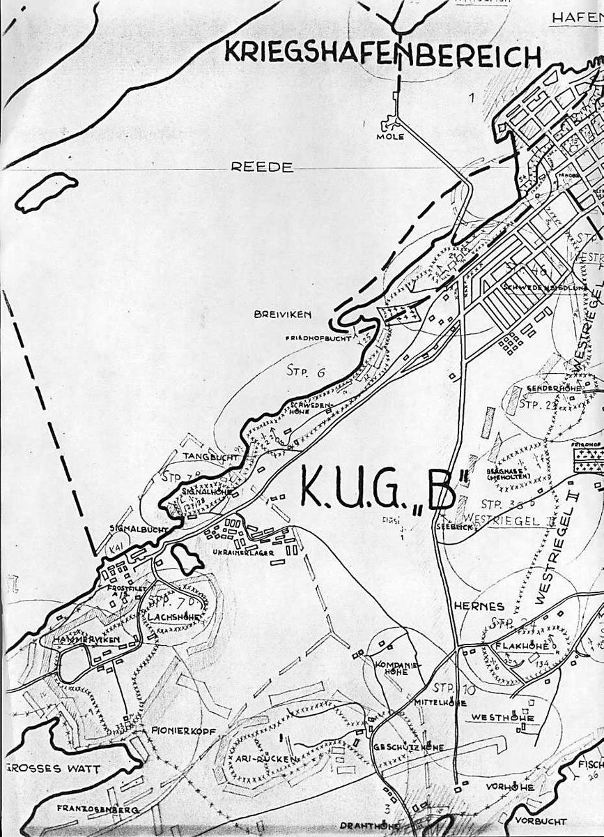 Kart over tyske forsvarsverk Festung Bodø.