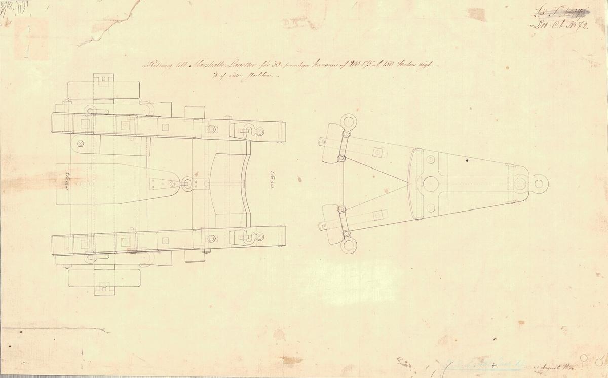 Ritning till Marshalls lavetter för 30 pundiga kanonen av 200, 175 och 150 kulors vikt