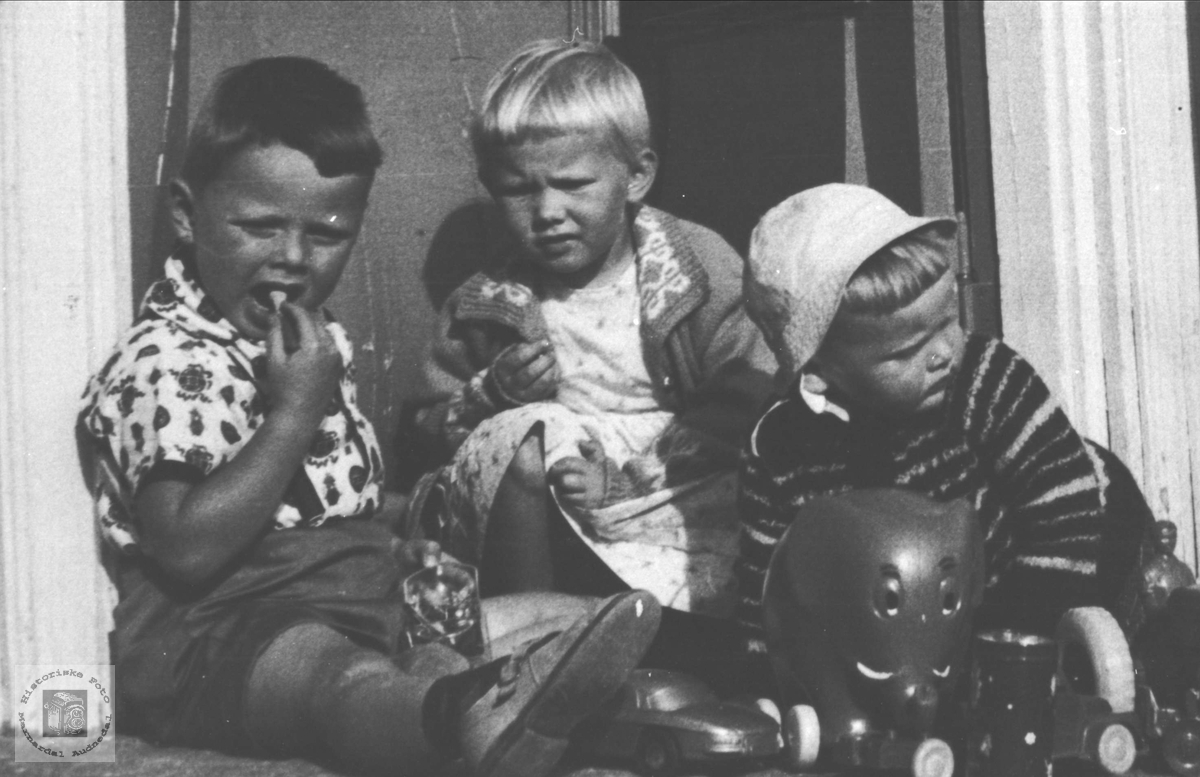 Tre lekekamerater på Høgtun.