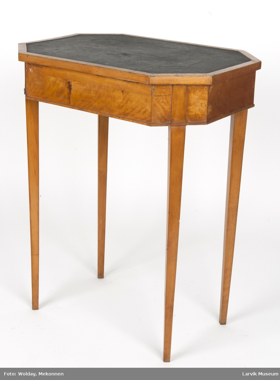 Form: 8-kantet, hengslet plate med sortmalt strie på