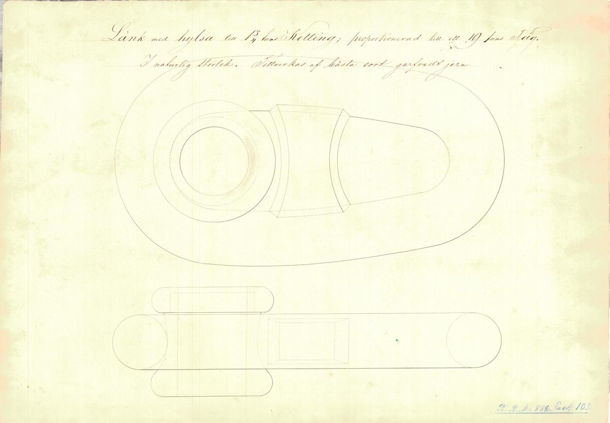 Ritning på länk med hylsa till 1 3/4 tums kätting, proportionerad till ett 19 tums tåg.