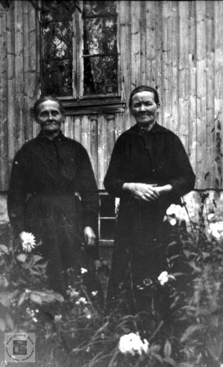 2 Kvinner i hagen. Anna Skålneset og Berte Strædet.