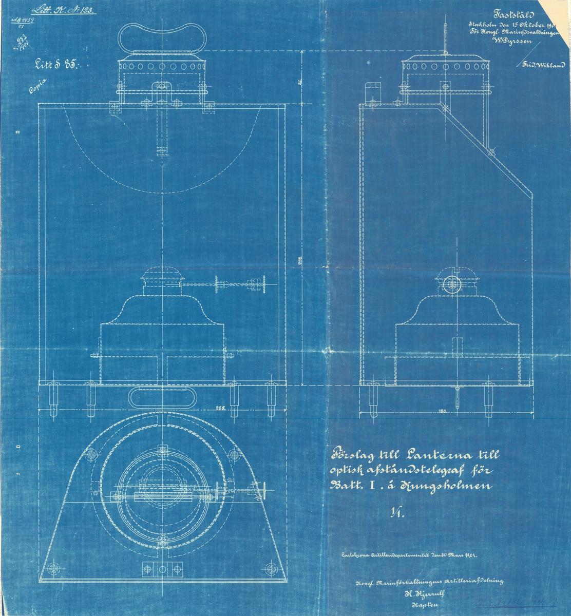 Förslag till lanterna till optisk avståndstelegraf för batteri nr 1 å Kungsholmen