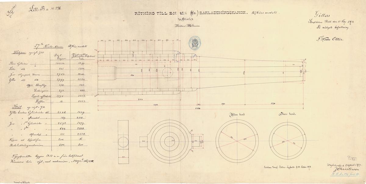 """Ritning till en 27 cm (9""""24) bakladdningskanon, 1876 års modell"""