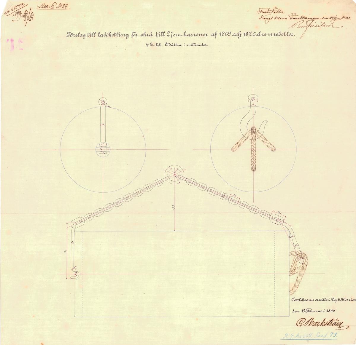 Förslag till laddkätting för skrå till 27 cm kanon av 1869 årsmodell
