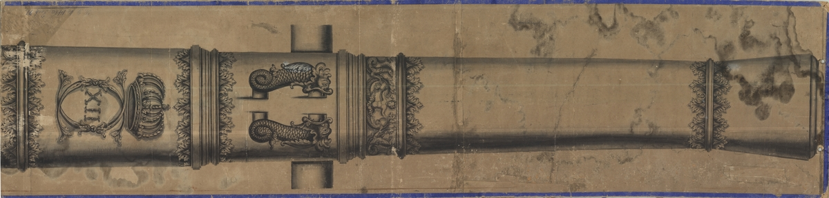 Ritning på kanon med Carl XIIs namnskiffer. Från tidigt 1700-tal.