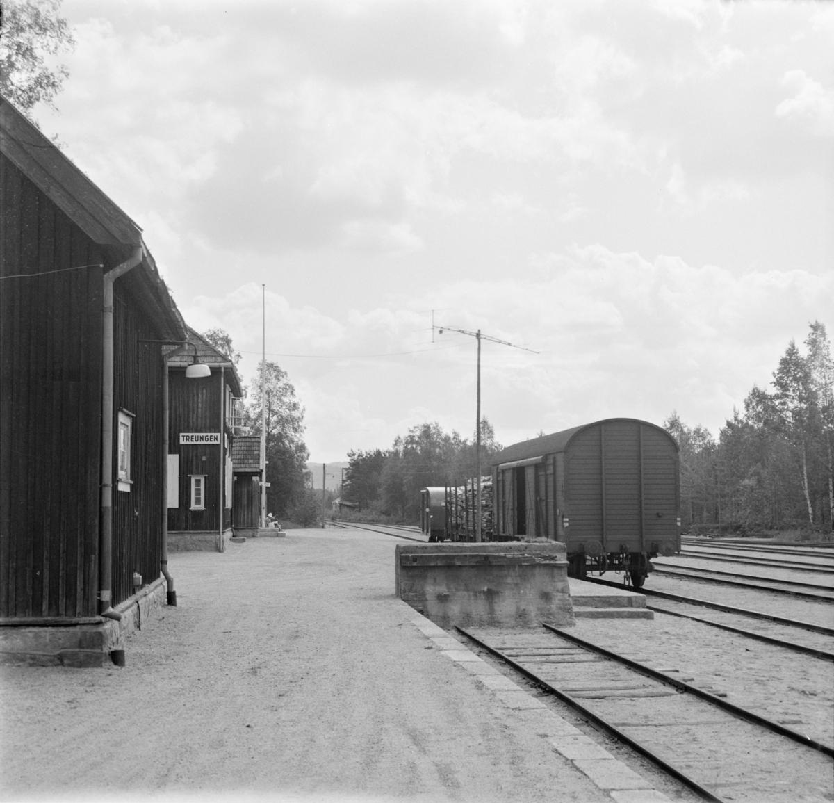 Lastede godsvogner på Treungen stasjon.