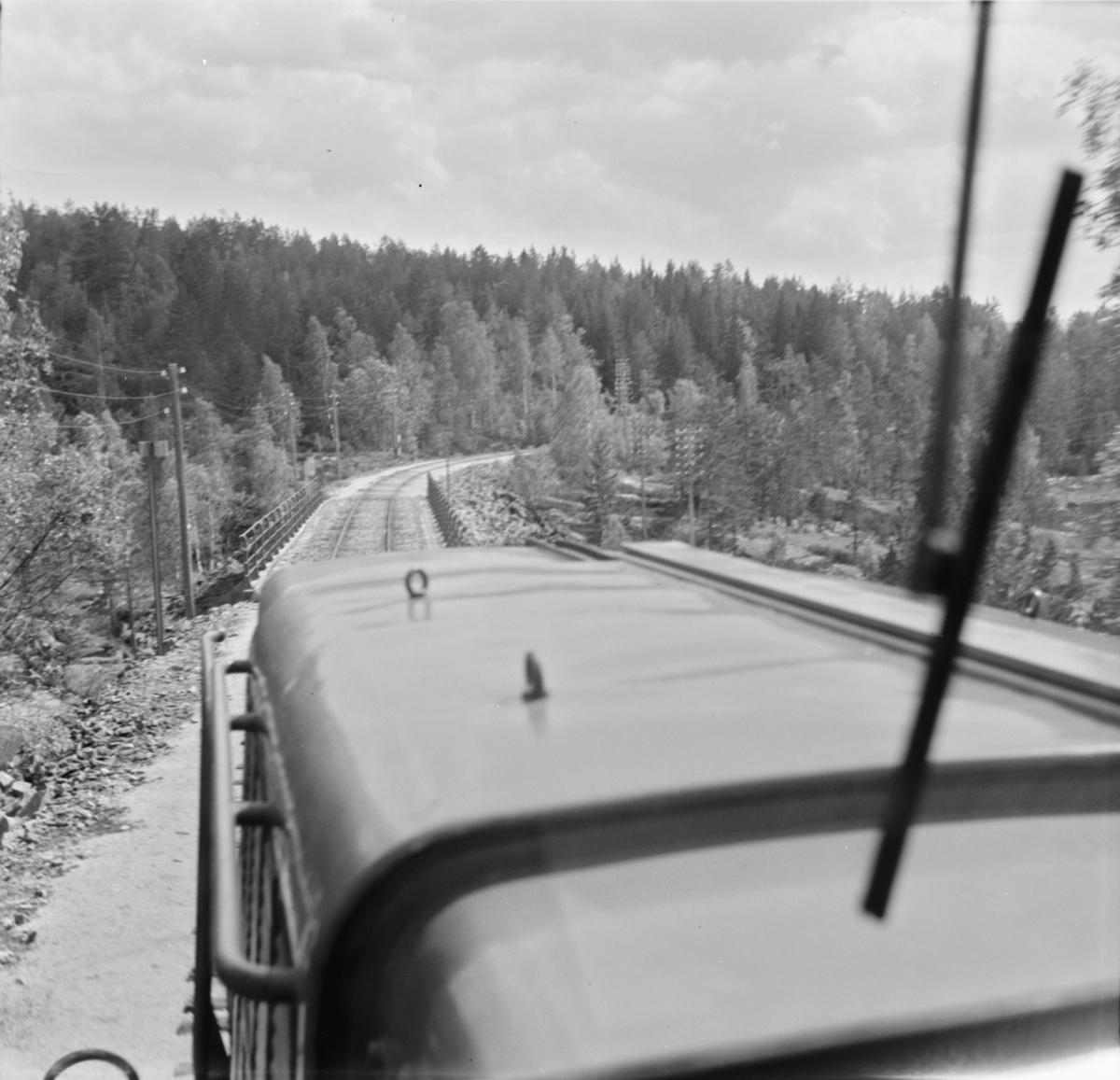 Parti fra Treungenbanen. Utsikt fra førerrommet på diesellokomotivet.