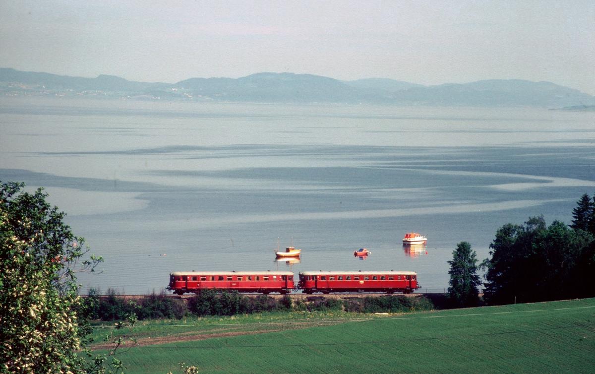 Persontog med NSB dieselmotorvognsett type 86 langs Trondheimsfjorden ved Vikhamar.