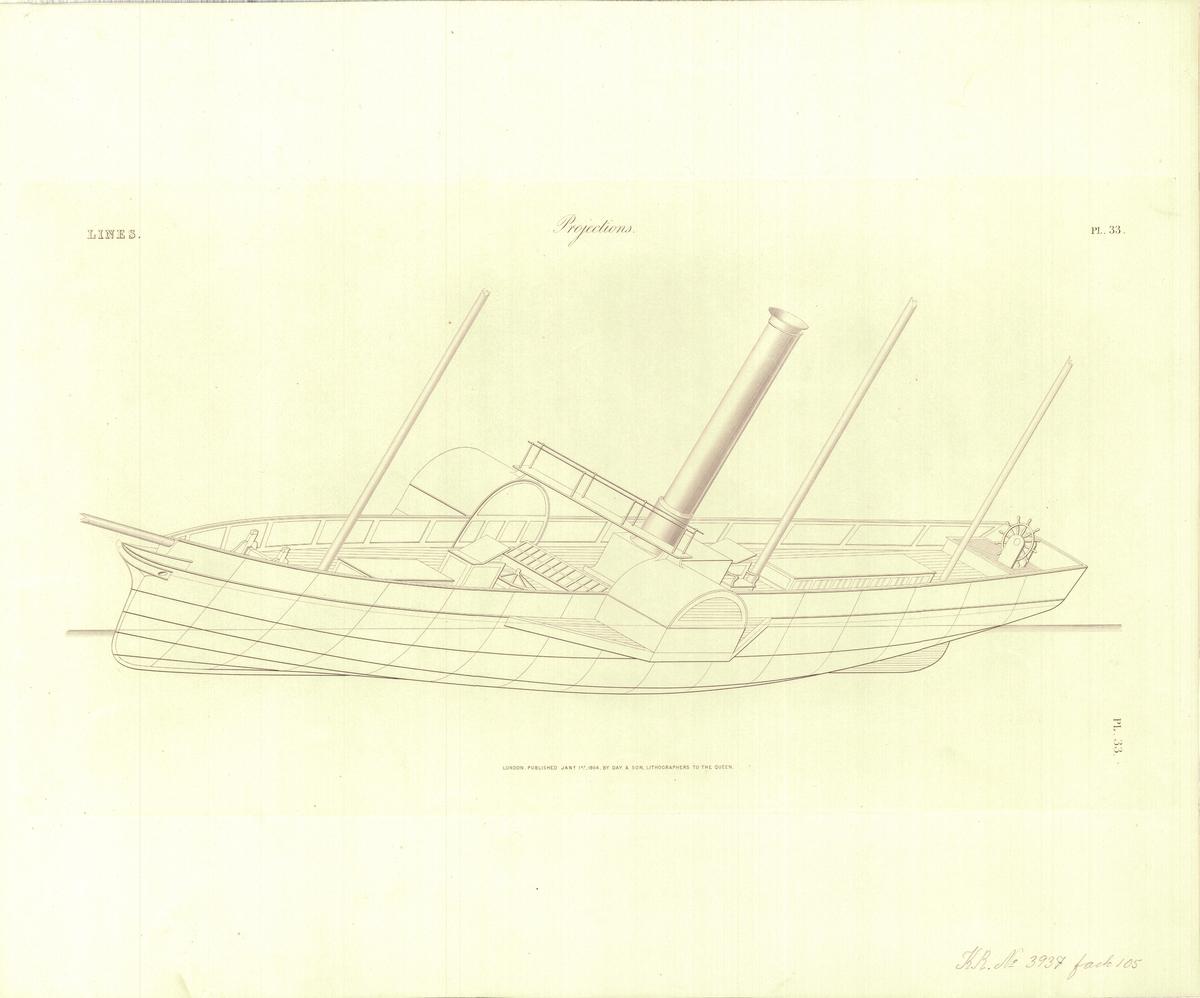 Ritning över ångfartyg från 1860-tal