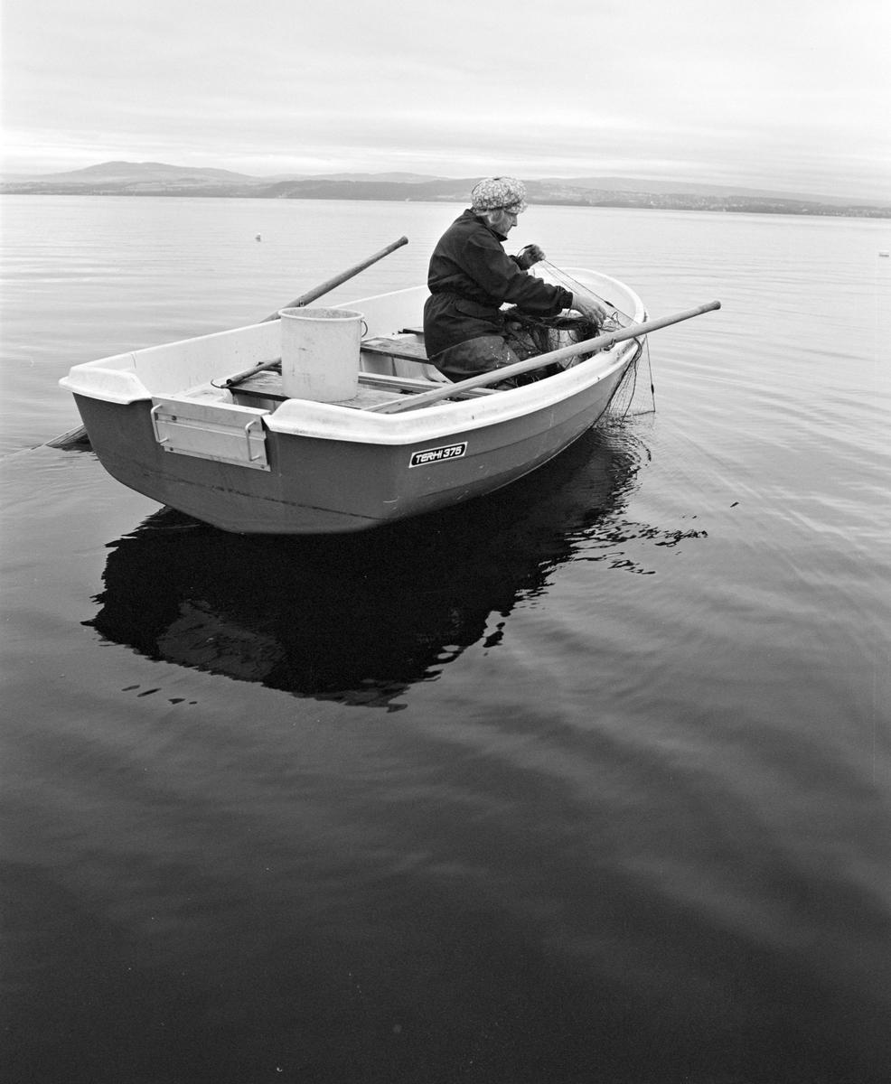 Aslaug Lier, lågåsildfiske, lagsild,  Helgøya, fiske i Mjøsa, Nessundet, robåt, garnfiske.