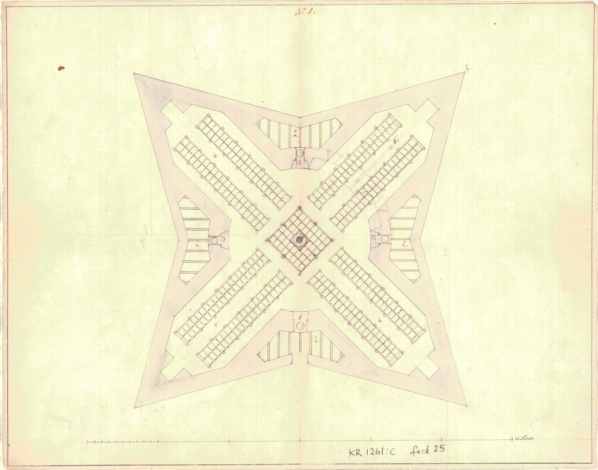 Häftad pärm innehållande 6 ritningar och 3 skrivelser över kruthus under tiden 1707-1724