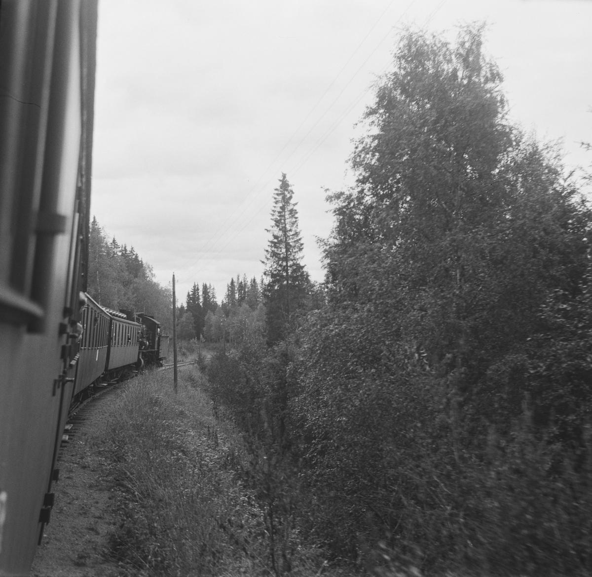 Langs Skreiabanen mellom Bøverbru og Kolbu stasjoner. Utsikt fra kupevinduet ombord i A/L Hølandsbanens veterantog fra Eina til Skreia.