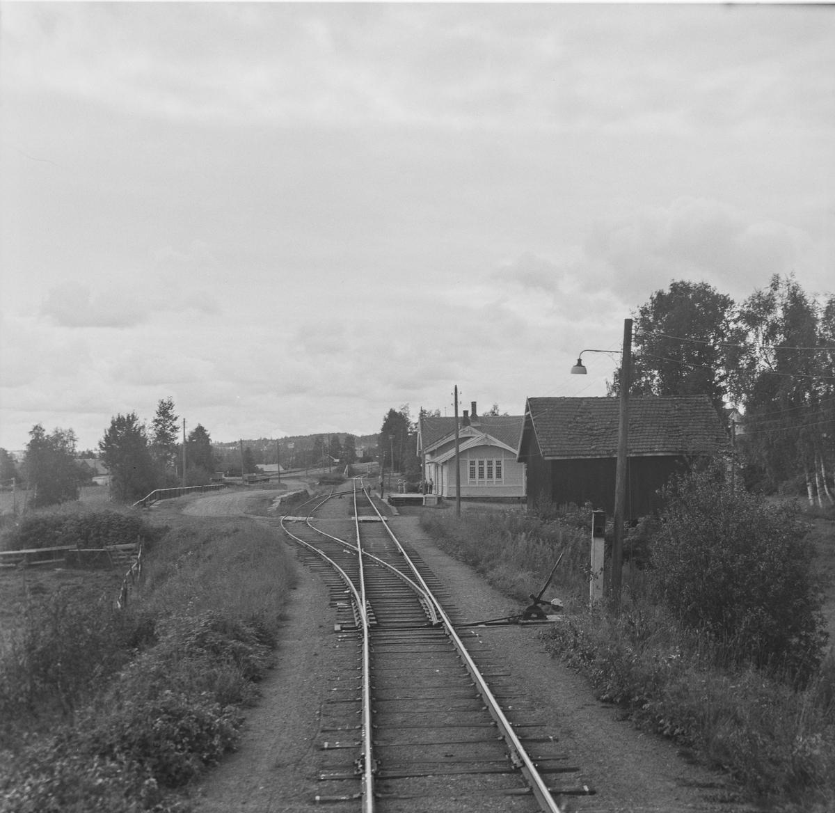 Kolbu stoppested på Skreiabanen . Utsikt fra bakerste vogn i A/L Hølandsbanens veterantog fra Eina til Skreia.
