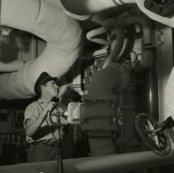 Maskinrummet på kryssaren Göta Lejon.
