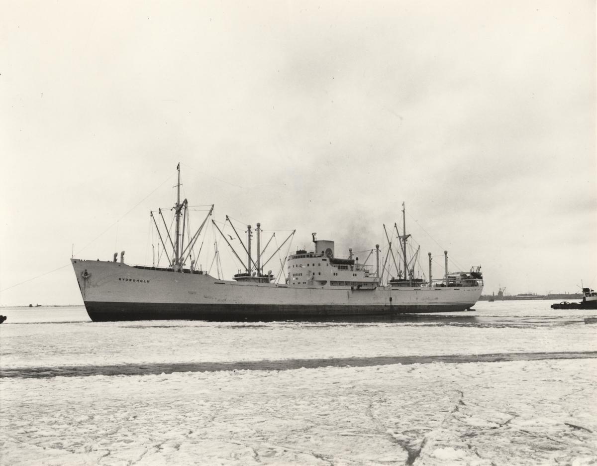 """Foto i svartvitt visande lastmotorfartyget """"RYDBOHOLM"""" i Köpenhamn under någon av vintermånaderna år 1954."""
