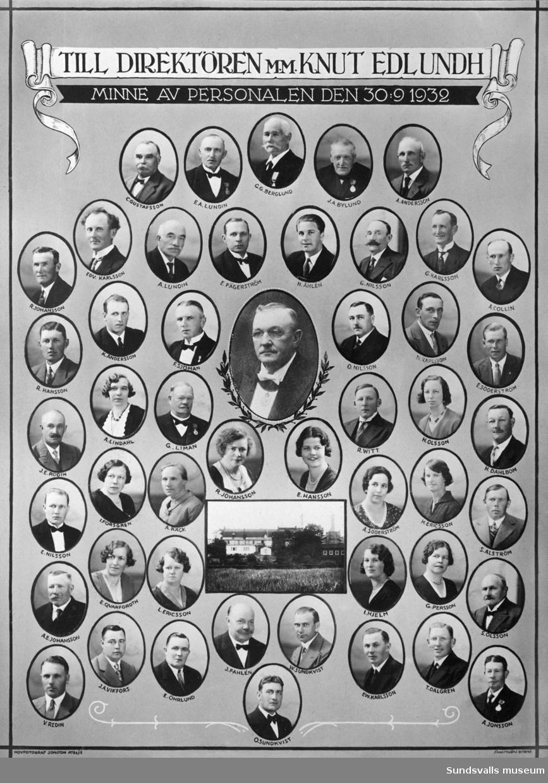 Minnestavla till direktören för Sundsvalls bryggeri AB, Knut Edlundh, vid hans avgång. Porträtt med personal. Edlundh var verksam på bryggeriet från 1912 till 1932.