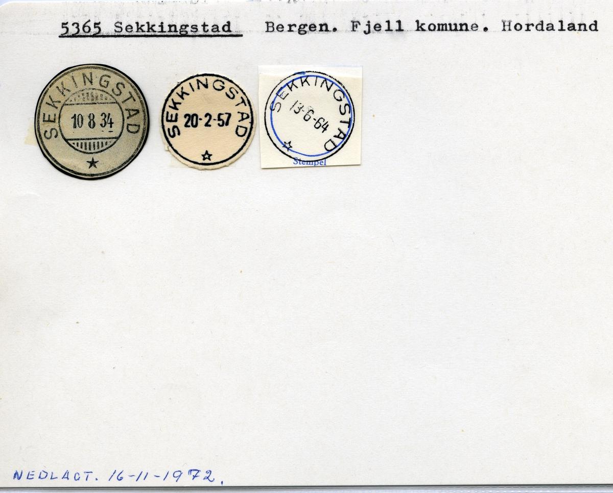Stempelkatalog  5365 Sekkingstad, Fjell kommune, Hordaland