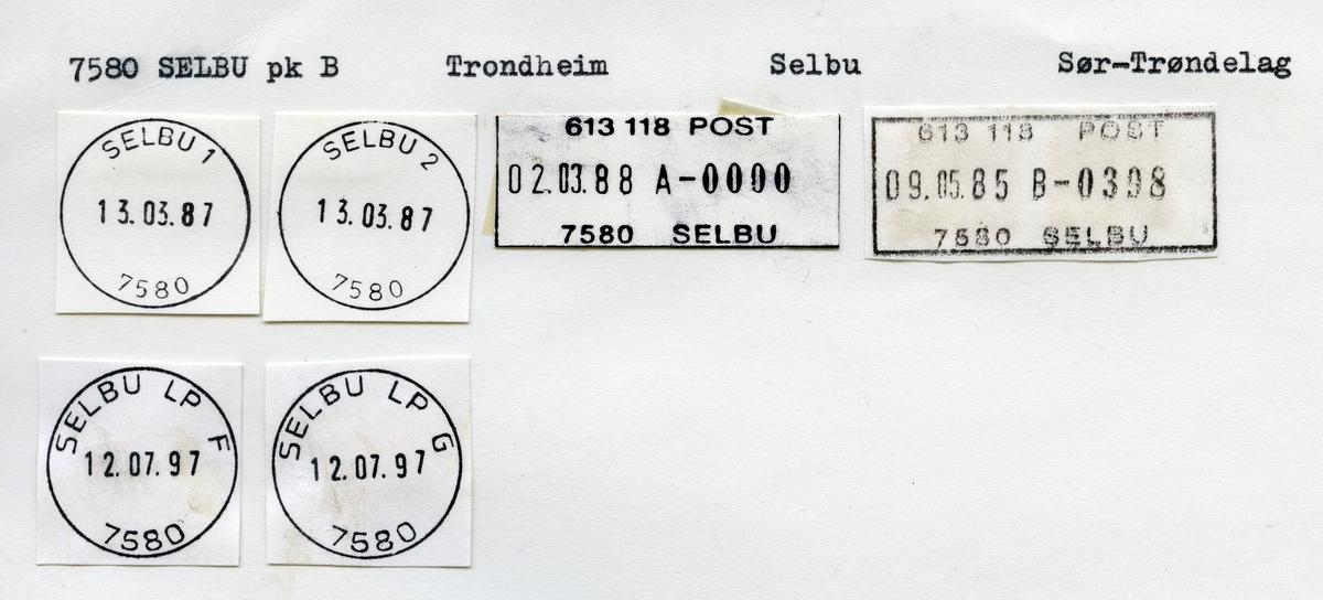 Stempelkatalog  7580 Selbu, Selbu kommune, Sør-Trøndelag (Selbo 1868)