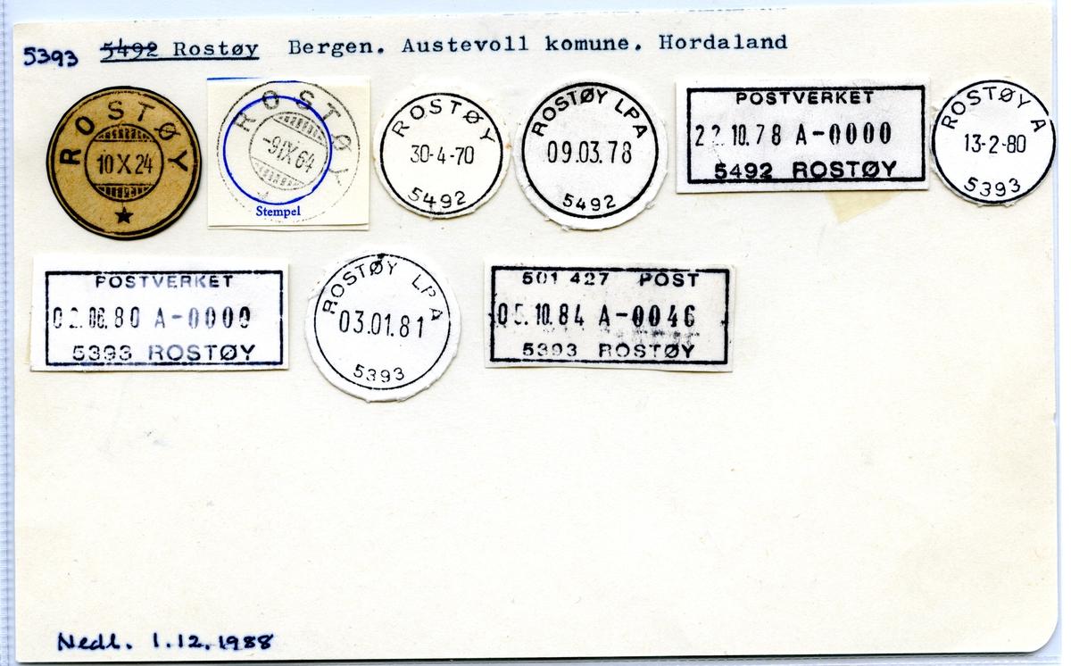 Stempelkatalog 5393 Rostøy, Austevoll, Hordaland