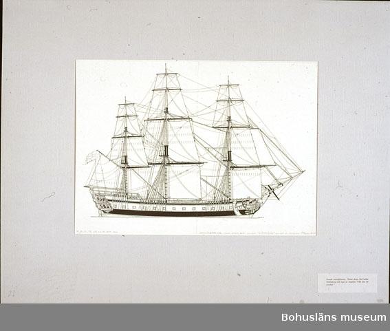 """Montering/ram: Passepartout av tunn grå kartong; 55 x 66 cm, Svensk ostindiefarare. """"Detta skepp blef kallat Götheborg och lopp av stapeln 1786 swn 20 oct."""". Övrig historik se UM72.26.001."""