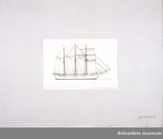 """Montering/ram: Passepartout av tunn grå kartong; 55 x 66 cm, Tremastade toppsegelskonaren Ragnar, byggd 1916 i Viken. """"Jag seglade jungman i Ragnar 1926"""" G.M. Övrig historik se UM72.26.001."""