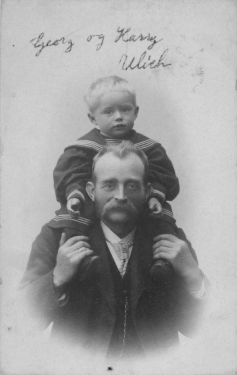 Portrett av Georg Hilmar Ulich, Loppa, og sønnen Harry. Harrys mor var Elise Ulich, f. Michaelsen