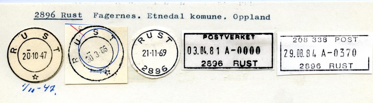 Stempelkatalog 2896 Rust, Etnedal, Oppland