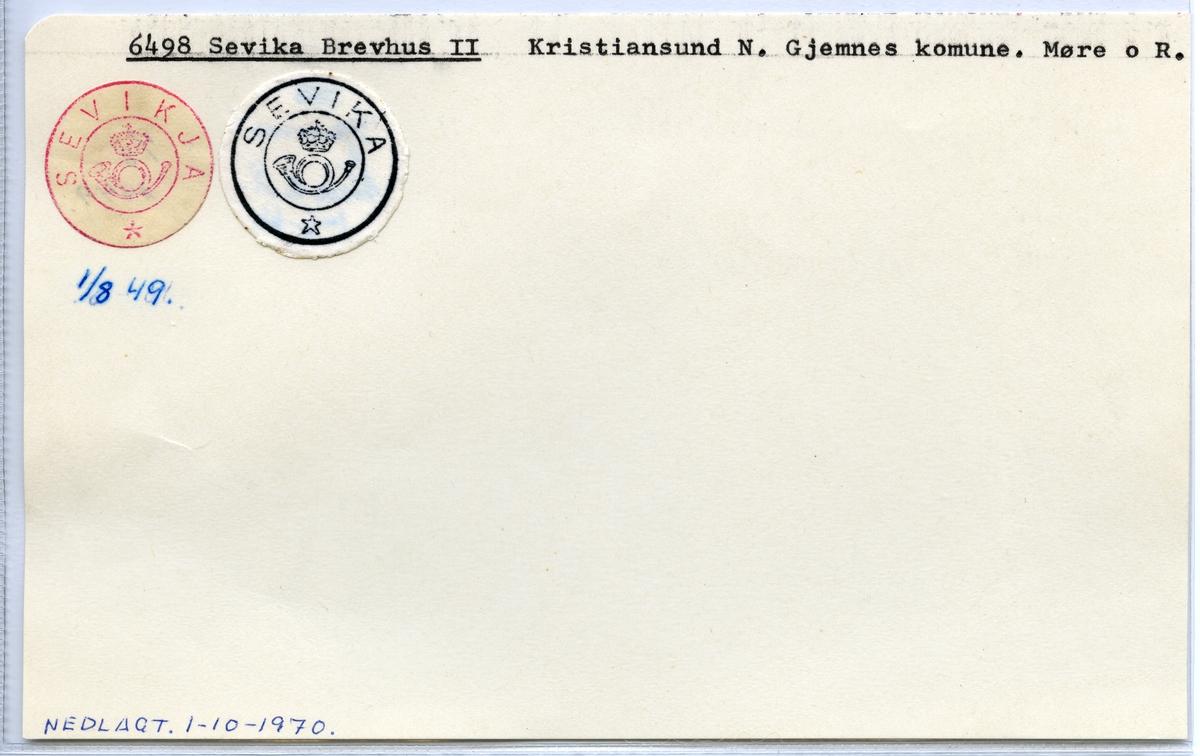 Stempelkatalog  6498 Sevika, Gjemnes kommune, Møre og Romsdal