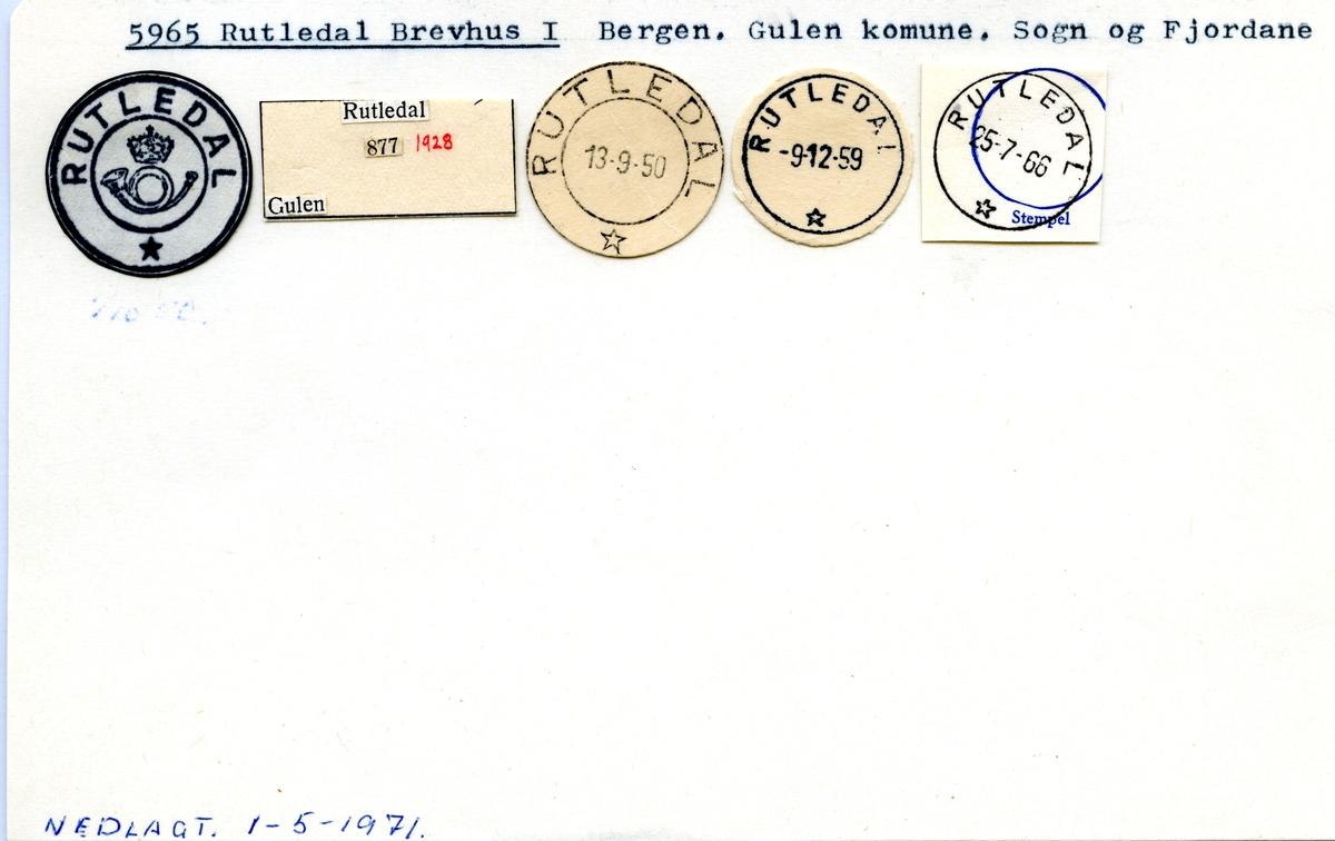 Stempelkatalog 5965 Rutledal, Gulen, Sogn og Fjordane
