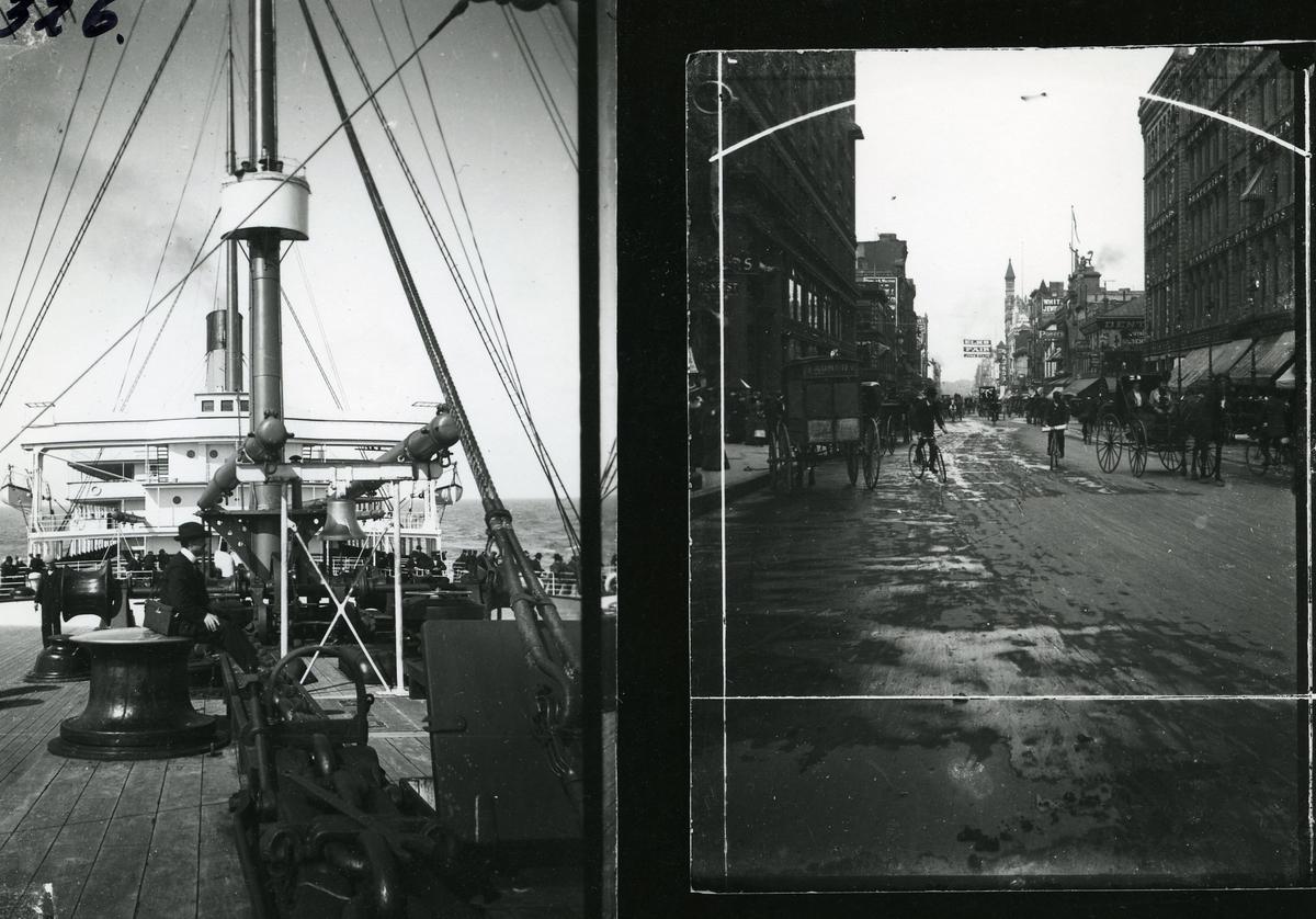Amerikabåten. Ola Gudheim på bildet til venstre. Bildet til høyre er fra Amerika (mest sannsynlig den byen der båten la til kai. Bygårder, sykler og hestedrosjer
