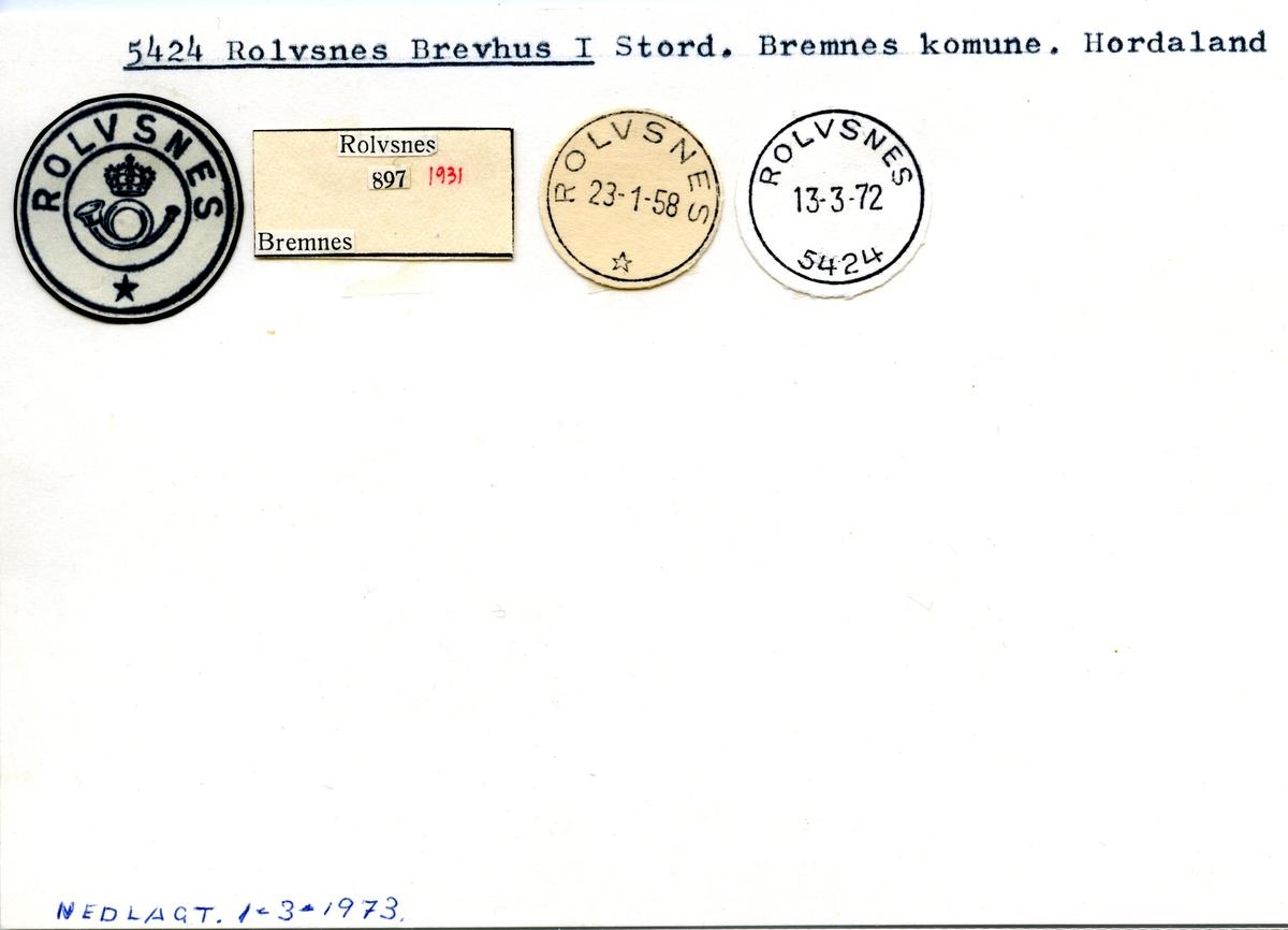 Stempelkatalog 5424 Rolvsnes, Stord, Bremnes, Hordaland