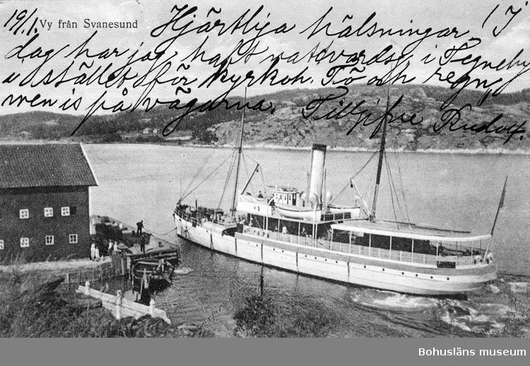 """Text på kortet: """"Vy från Svanesund""""."""