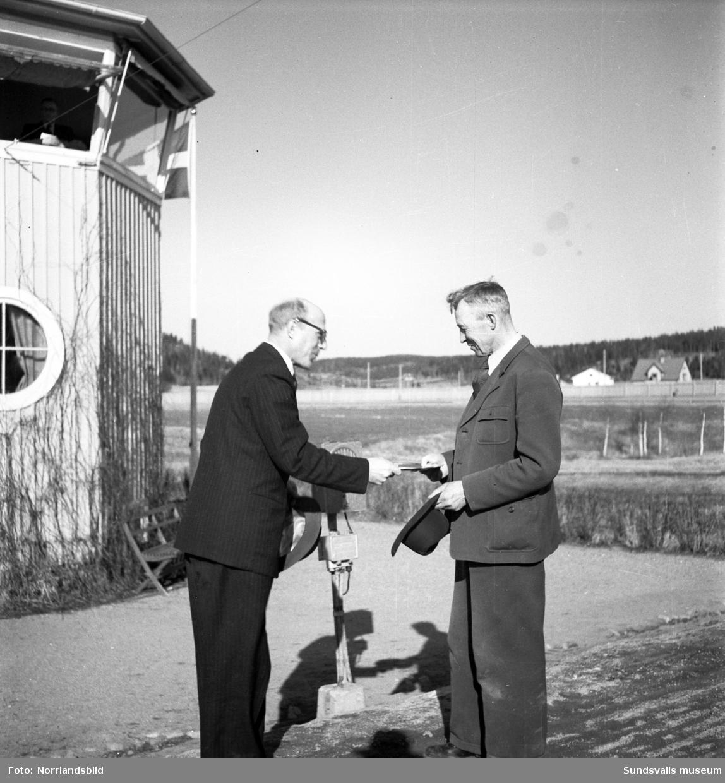 Bergsåker 13 april 1949. Ekipaget Demona & Arne Sjödin blev vinnare i ett stort unghästlopp.