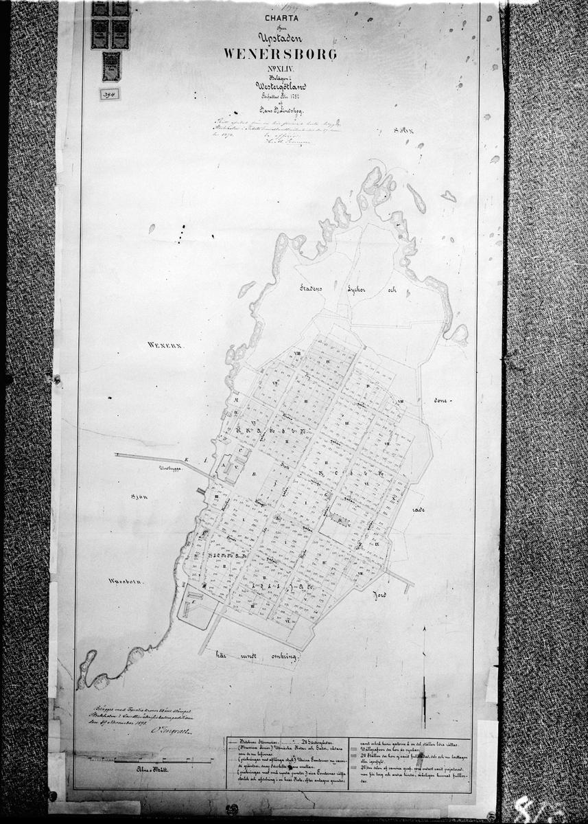 Karta över Vänersborg upprättad år 1787 av hans Lindskog