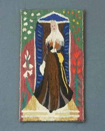 Bildväv vävd med ullgarn i inslag. Vävnaden är troligen gjord efter förlaga, målning eller textil, av Elisabeth Bergstrand-Poulsen och den är monterad på kartong klädd med linnetyg.Pris material med kort 105:-.