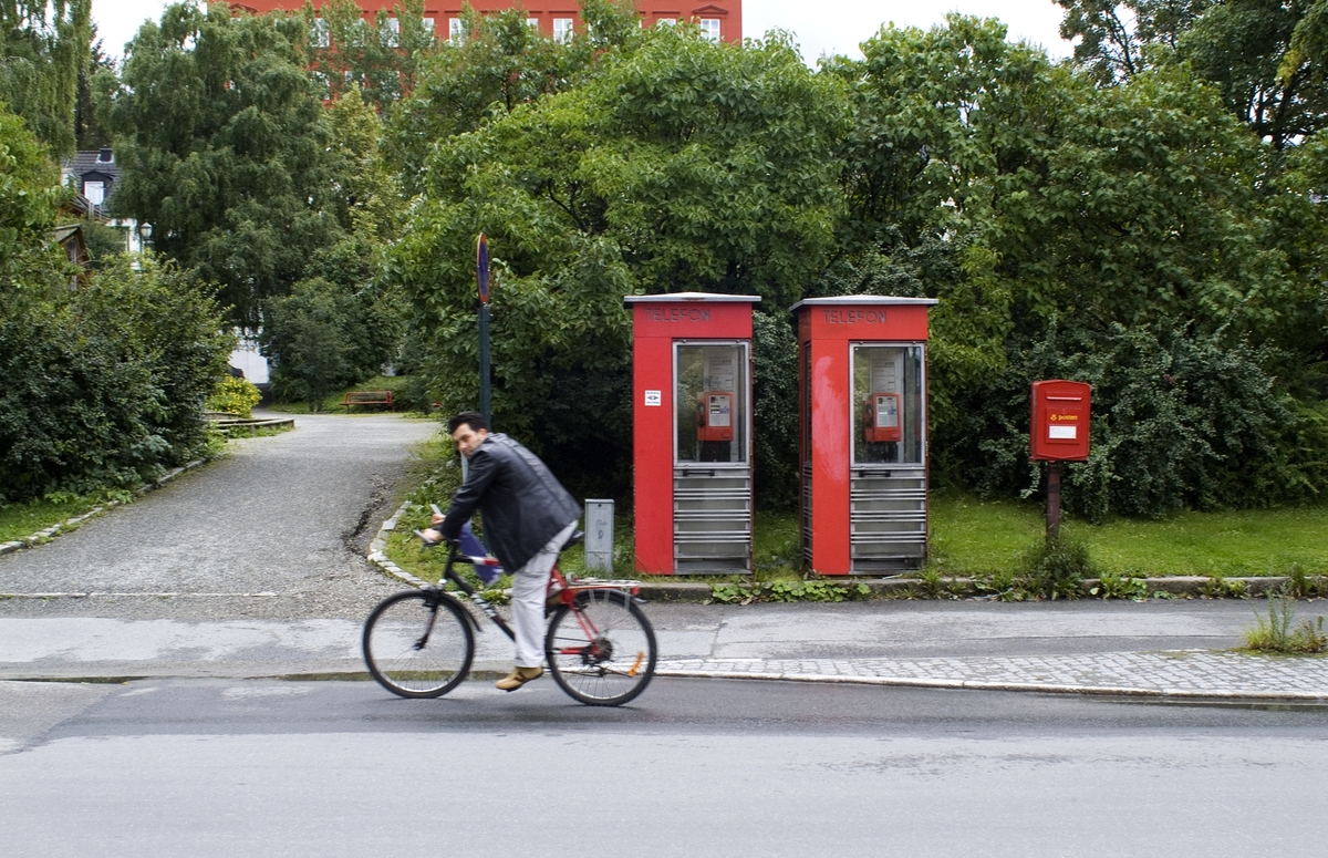Telefonkiosk i Thornesparken i Trondheim, blant de 100 vernede telefonkiosker i Norge. De røde telefonkioskene ble laget av hovedverkstedet til Telenor (Telegrafverket, Televerket). Målene er så å si uforandret.  Vi har dessverre ikke hatt kapasitet til å gjøre grundige mål av hver enkelt kiosk som er vernet.  Blant annet er vekten og høyden på døra endret fra tegningene til hovedverkstedet fra 1933. Målene fra 1933 var: Høyde 2500 mm + sokkel på ca 70 mm Grunnflate 1000x1000 mm. Vekt 850 kg. Mange av oss har minner knyttet til den lille røde bygningen. Historien om telefonkiosken er på mange måter historien om oss.  Derfor ble 100 av de røde telefonkioskene rundt om i landet vernet i 1997. Dette er en av dem.