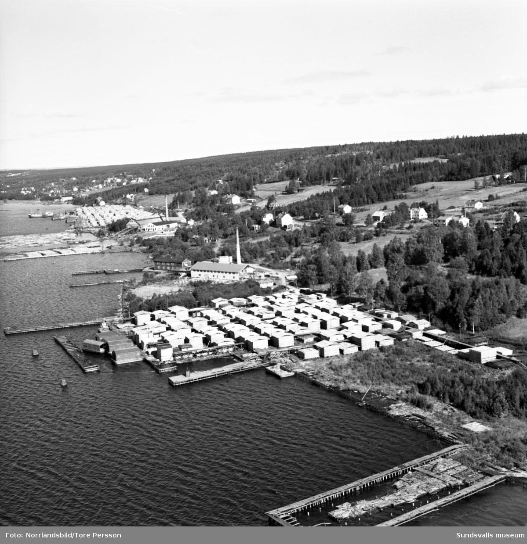 Flygfoton över Alnö, Myrnäs fabrik, båtmanufaktur, samt på tredje bilden Lerviks sågverk.