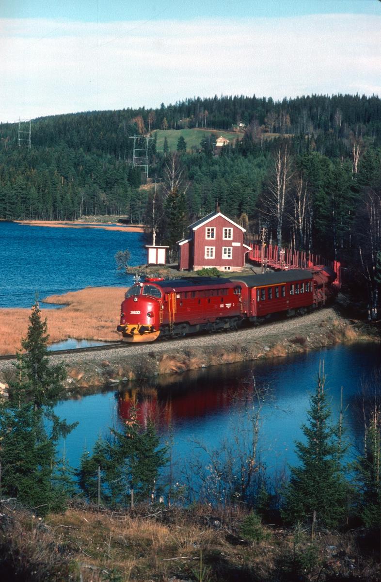 Persontog til Fagernes har avgang fra Trevatn. NSB dieselelektrisk lokomotiv type Di 3. Trevatn var feriested for jernbanepersonale.