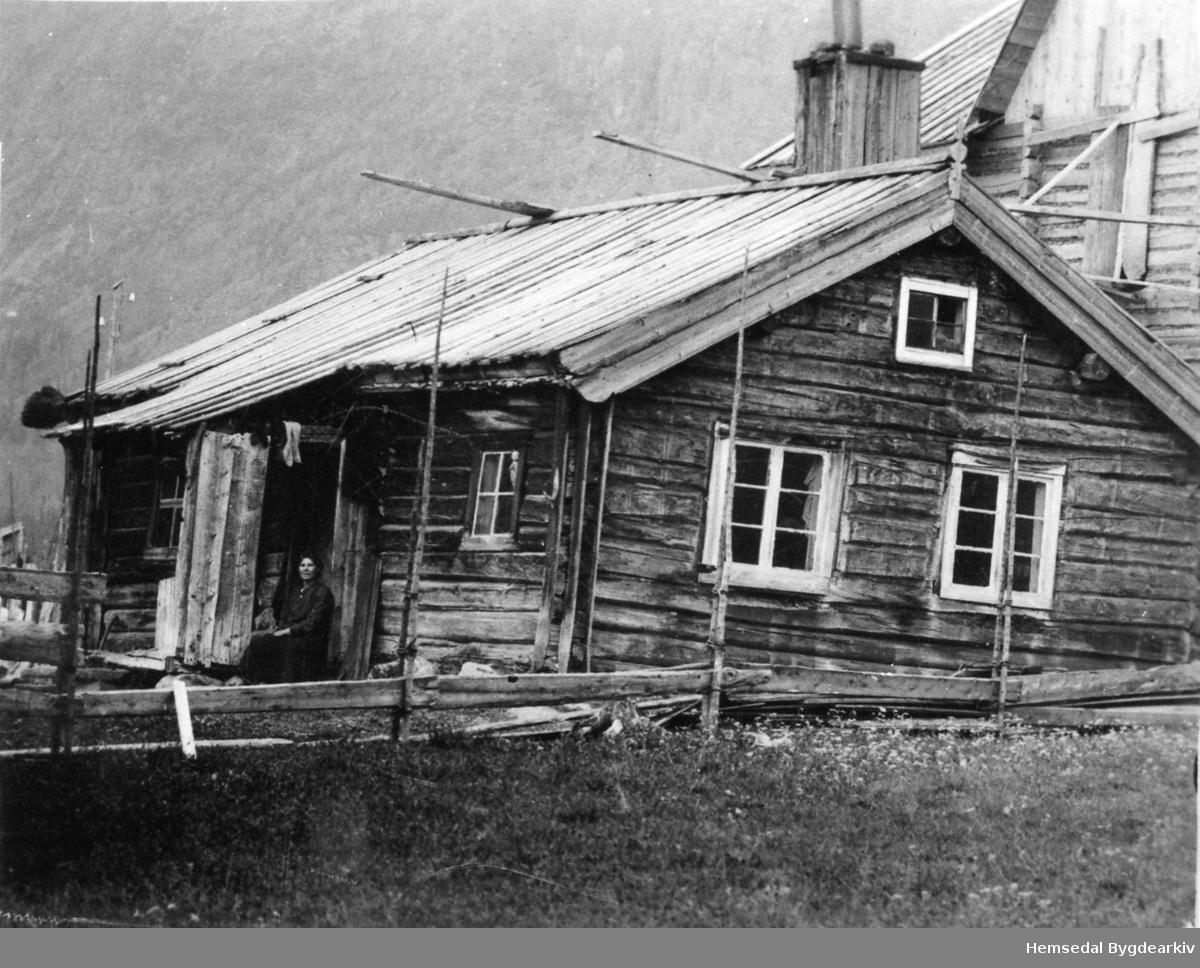 Gamlestova (Gamlestugo, dialekt)på garden Løken,59.1, i Hemsedal. Bak er bygnaden som vart sett opp i 1923. Anne Løken på trammen