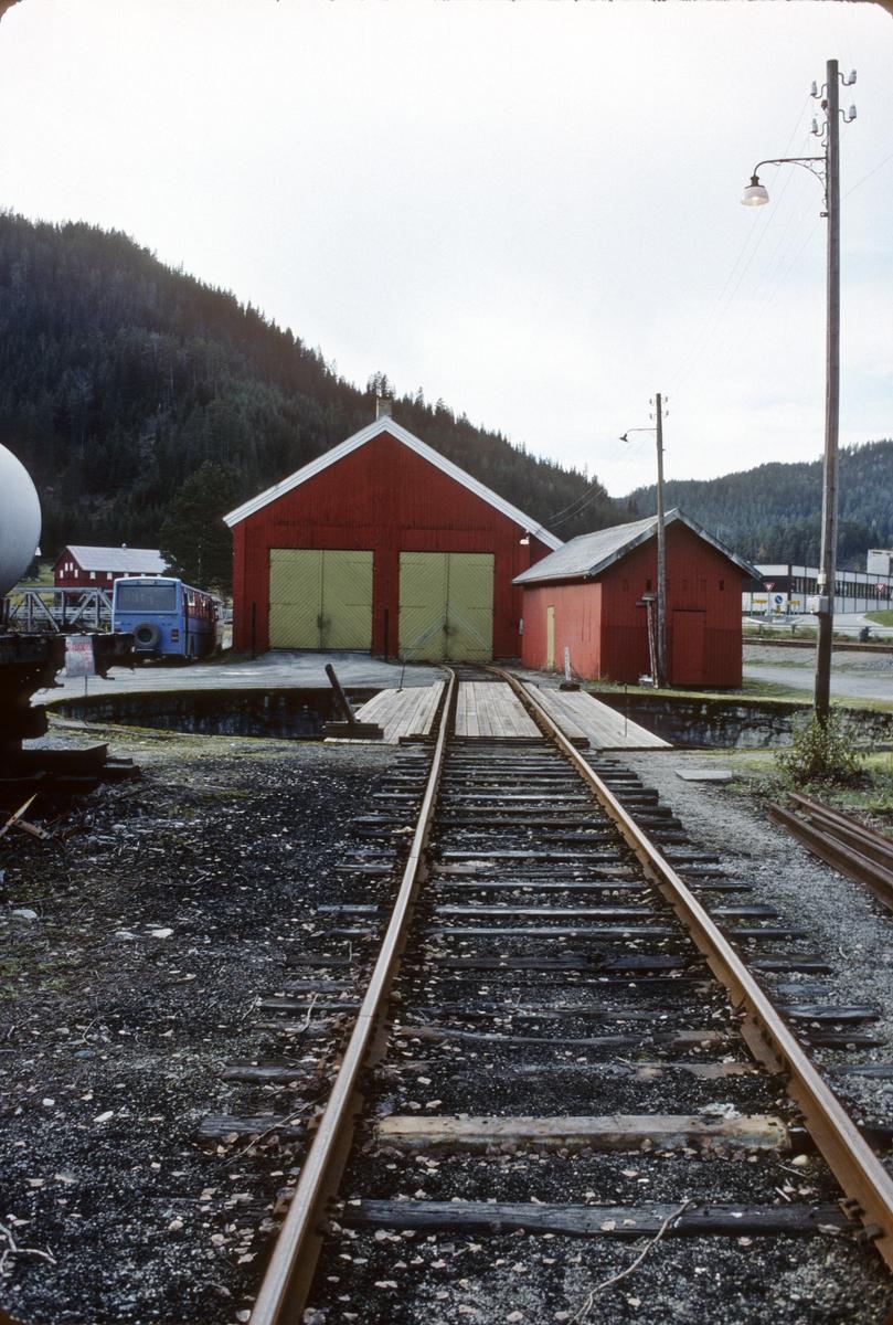 Svingskive og lokstall på Rødberg stasjon.