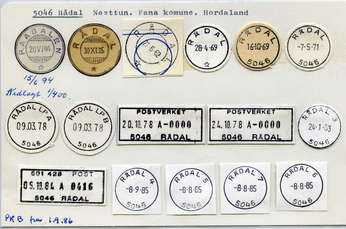 Stempelkatalog 5046 Rådal, Nesttun,Bergen, Hordaland