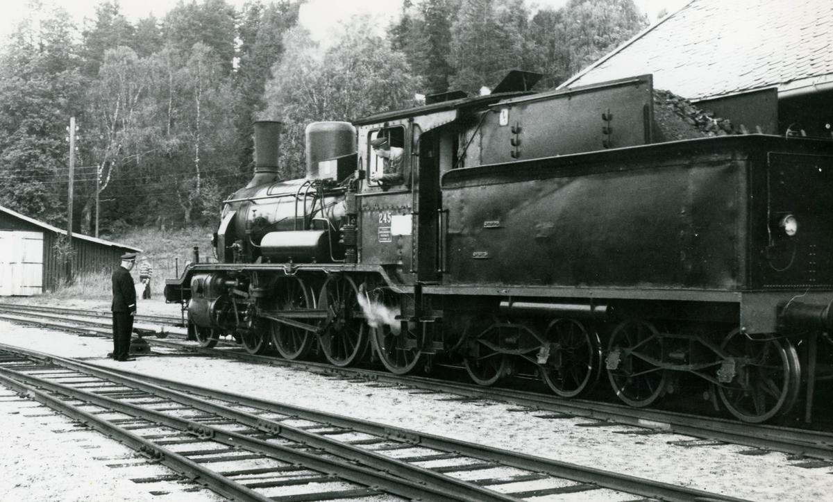 A/L Hølandsbanens vetarantog trukket av damplok type 18c nr. 245 på Krøderen stasjon.