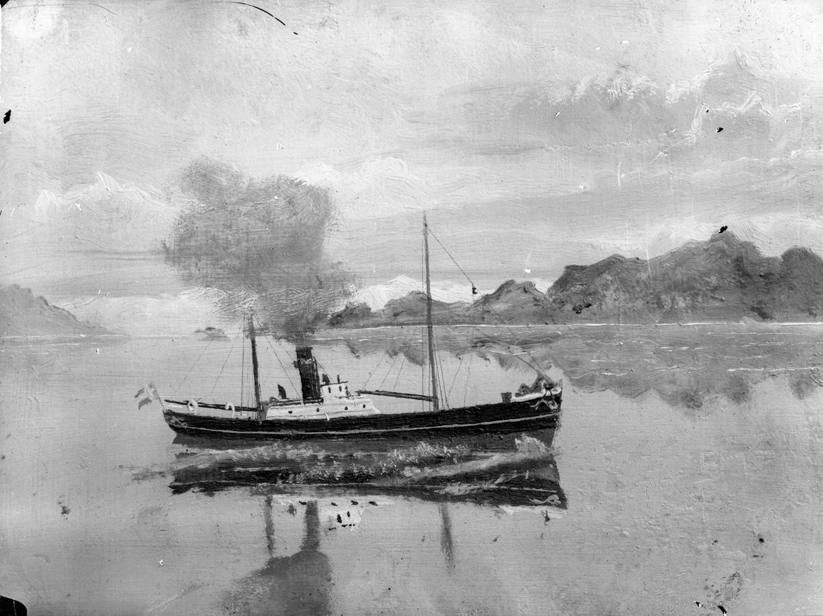 """Avfotografert maleri av dampskipet D/S """"Ingeborg""""."""