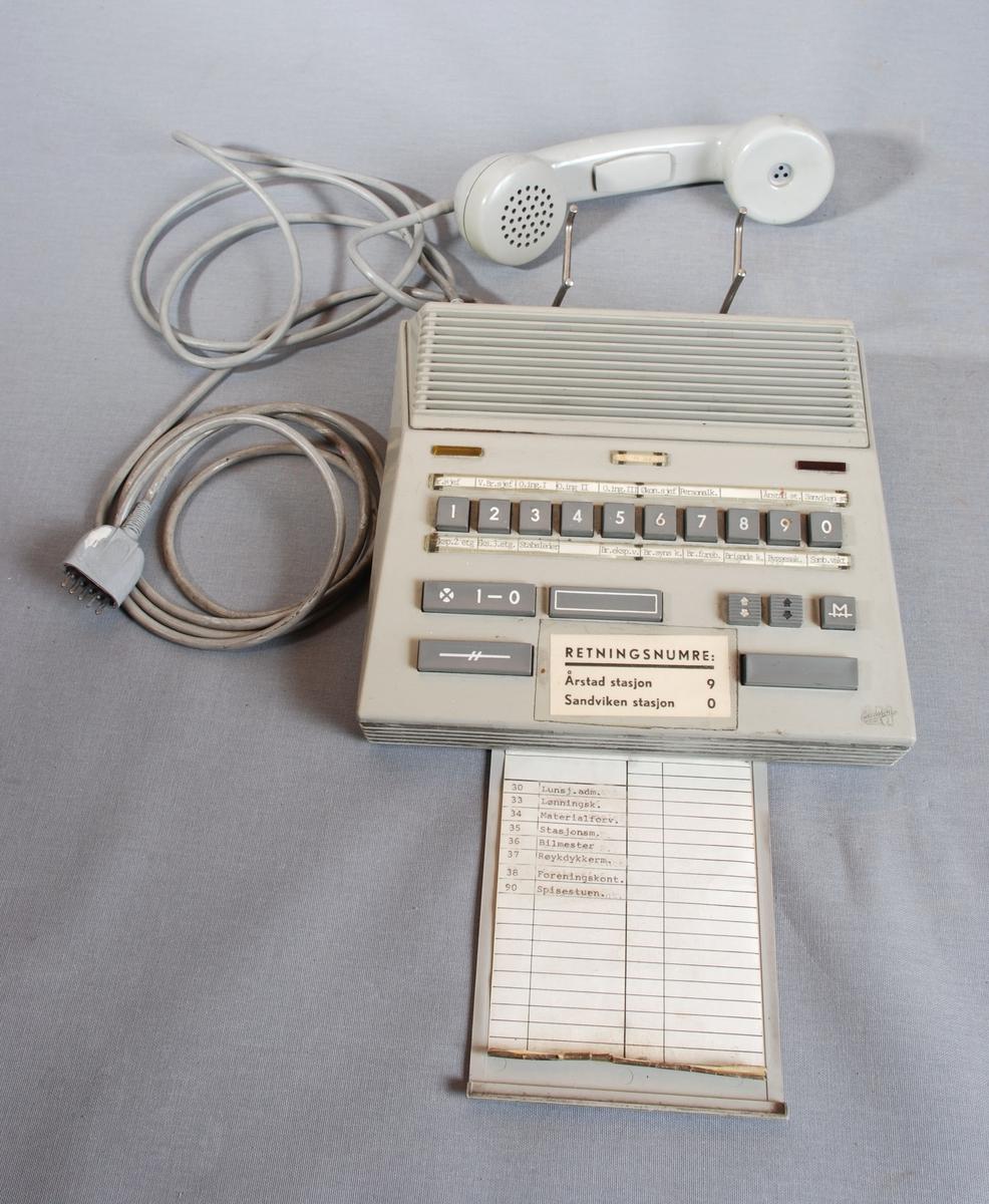 Firkantet telefonapparat med tastatur, telefonrør med ledning og kabel for veggkontakt. To rektangulærer varsellys en grønn og en rød.  Knappene har tall og ulike symboler, med tilhørende  tekst både over og under knappene. Telefonen har en uttrekkbar telefonliste under.