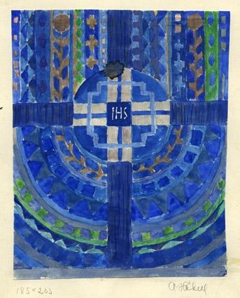 """Förlaga till kyrklig textil. Färgskiss Altartavla. Variant av WLHF-1206. Cirkelmönster i olika nyanser blått och grönt med kors tvärsöver. I mitten """"I H S"""" i vitt. Vattenfärg på papper, limmat på kartong. Märkt: """"185x205 A Hådell"""".Skissen visades vid infodagar om kyrklig textil 1983.  ."""