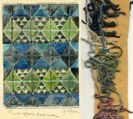 """5 st färgskisser till rölakansmatta med namnet """"Trianglar Broman"""".(""""Broman"""" något osäkert pga svårtydd handstil)Triangelmönster i olika fält mot ett rutmönster.Vattenfärgsmålat på papper limmat på kartong. Signerade originalskisser av Anna Hådell. WLHF-1257:1 - Olika gråa nyanser. Garnprover fästa i kanten. Enligt anteckning Vävd. WLHF-1257:2 - Olika blå och gröna nyanser samt mörkgrått. Skissen kallad :2A. Garnprover fästa på kartongbit kallad :2B. WLHF-1257:3 - Olika blå nyanser, vitt och grått. Garnprover fästa i kanten. WLHF-1257:4 - Olika blå nyanser, vitt, grått och lite lila.   Bild 3 visar : 3 och :4. WLHF-1257:5 - Gult, olika nyanser gått och vitt."""
