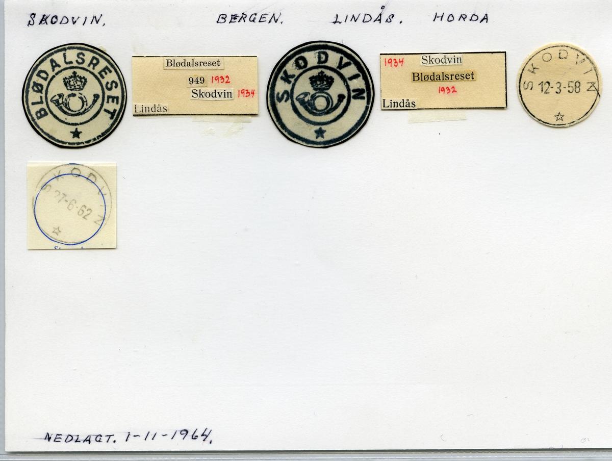 Stempelkatalog  Skodvin, Lindås kommune, Hordaland (Blødalsreset 1932, Skodvin 1934)