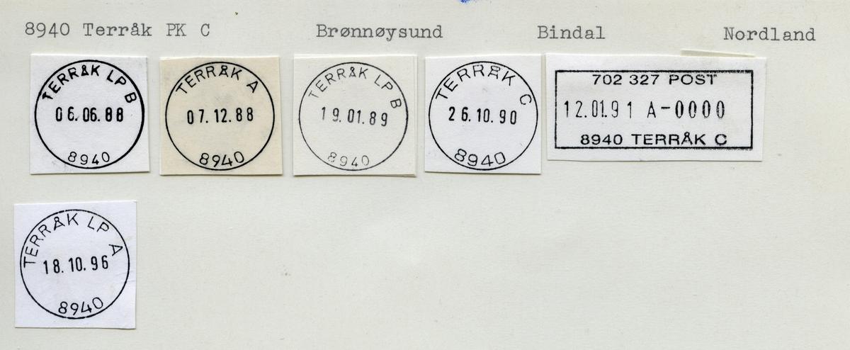 Stempelkatalog 8940, Terråk (Bindalen, Teraak), Bindal, Nordland