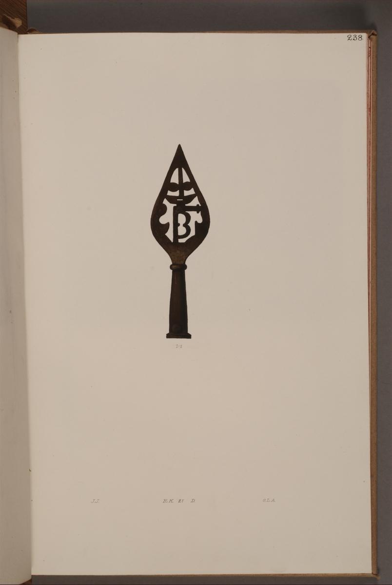 Avbildning i gouache föreställande detalj av fälttecken taget som trofé av svenska armén. Den avbildade fanan finns bevarad i Armémuseums samling, för mer information, se relaterade objekt.